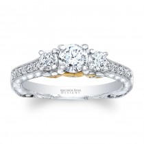 Matthew Ryan Designs 14KT White Gold Diamond 3 Stone Engagement Ring with 0.74 ct in side diamonds MRDG-263