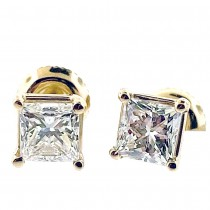 1.40 ct Princess Cut Diamond Total Weight Stud Earrings in 14KT Yellow Gold Screw Backs G-H SI1 Quality 102203