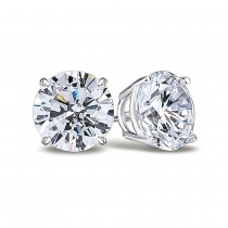 14K White Gold Round Cut Stud Earrings in Screw Backs with 3/4 carat Total Diamond Weight 1119
