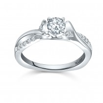 Valina Engagement Bridal Set Ring in 14KT White Gold with 0.12 carat in Round side Diamonds RQ9370W_BW