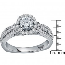 Valina Engagement Bridal Set Ring in 14KT White Gold with 0.60 carat in Round side Diamonds RQ9447W_BW