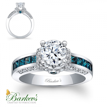 Barkev's Designer Round Cut Blue Diamond Engagement Ring in 14KT White Gold with 0.90 ct in Round and Princess cut side Diamonds 6452LBDW