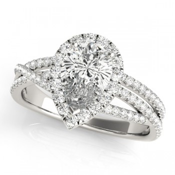 Charles and Colvard Moissanite 9x6 MM Pear Shape Halo style 2 Row Diamond Engagement Ring in 14KT White Gold MR51022