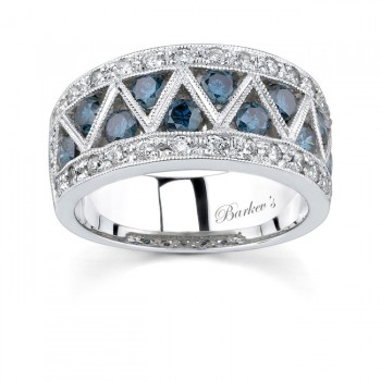 White Gold Band With White & Blue Diamonds