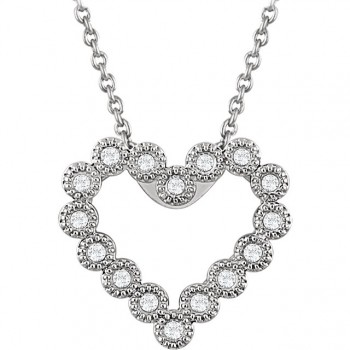 14kt White Gold with 1/8 carat Total diamond weight heart shape Necklace with an 18 inch chain 651761
