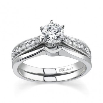 Barkev's Designer Bridal 2 piece set in 14KT White Gold with 0.16 ct of Round Cut Diamonds 7341SW