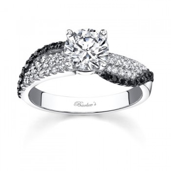 14KT White Gold Barkev's Diamond Engagement Ring with 0.34 ct of Round Cut Black and White Diamonds 7690LBKW