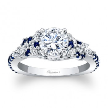 Barkev's Designer Engagement Ring With Blue Sapphires 7932LBS