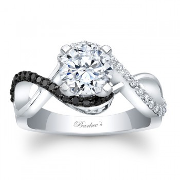 14KT White Gold Barkev's Designer Round cut Engagement Ring with Round Black and White Side diamonds 8020LBKW