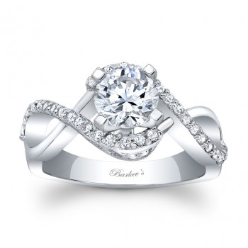 Round Barkev's Designer Diamond Engagement Ring with 0.31 ct in side diamonds 8020LW