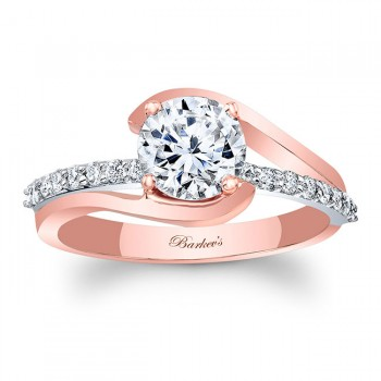 Barkev's Designer Diamond Engagement Ring in 14KT White and Rose Gold with 0.24 ct of Round Side diamonds 8033LTP