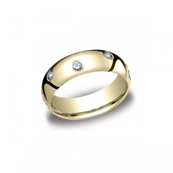 Diamonds Yellow Gold 6mm Diamond Band