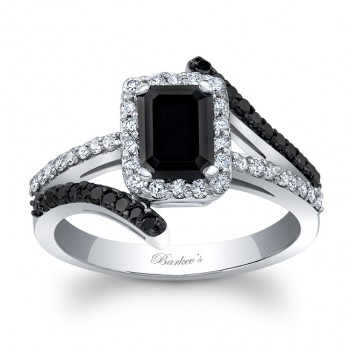 Barkev's Designer Black Diamond Engagement Ring with 0.70 ct in side diamonds BC-8029LBKW