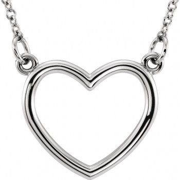 14kt White Gold Plain Heart Shape Necklace with a 16 inch chain 85874