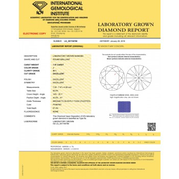 1.57 carat Round Cut Lab Grown Loose Diamond J--SI1 quality IGI CERTIFIED 301745780