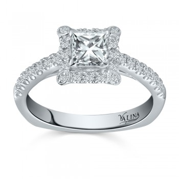 Valina Designer Engagement Ring in 14KT White Gold with 0.28 ct in Round side diamonds R9402W_BW