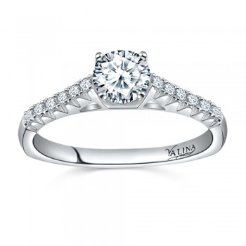 Valina Designer Engagement Bridal Ring in 14KT White Gold with 0.29 ct in Round side diamond R9443W_BW