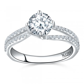 Valina Designer Engagement Bridal Ring in 14KT White Gold with 0.32 ct in Round side diamond R9533W_BW