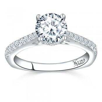Valina Engagement Bridal Set Ring in 14KT White Gold with 0.26 carat in Round side Diamonds R9551W_BW
