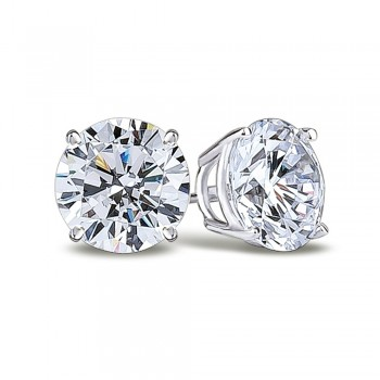 14K White 8.00 mm Round Forever One Quality™ Charles and Colvard Moissanite Stud Earrings in Screw Backs 1117