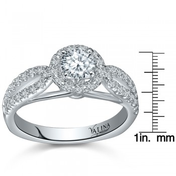 Valina Engagement Bridal Set Ring in 14KT White Gold with 0.46 carat in Round side Diamonds RQ9381W-BW