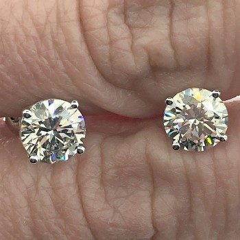1.50 carat Round Cut Lab Grown Diamond Stud Earrings in 14KT White Gold with Screw Backs